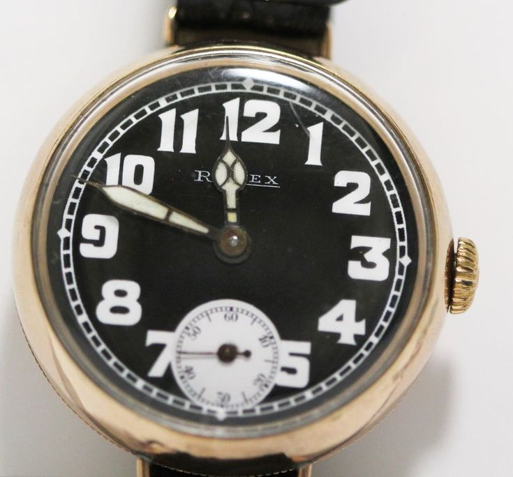 Antique Rolex Officers Watch 9ct Pink Gold 15J Manual Wind Military Black Dial #Rolex #Military