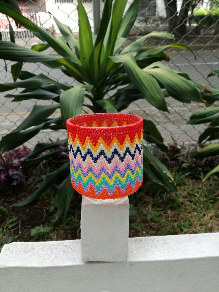 Matera, guarda lapices o vaso decorado en arte con mostacillas, # Arte, # Cali