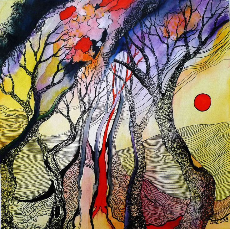 In the Woods 3 by zzen, Traditional Art / Paintings / Landscapes & Scenery, watercolour and black ink on paper, 2013, 24,5 x 24,5 cm Hahnemuhle Quatro, matt, 300 g/m
