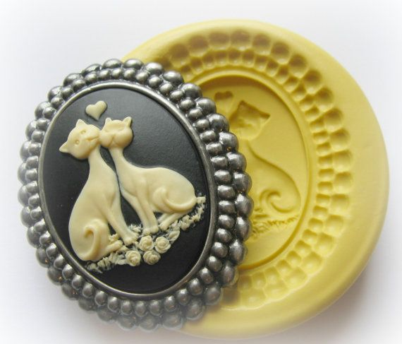 Custom Cameo Resin Pins Diy: Silicone Cameo Molds Cat Heart Resin Cameo Moulds