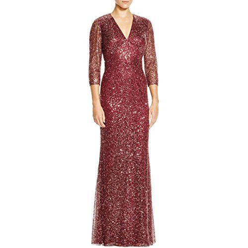 Kay Unger Womens Lace Overlay Lined Evening Dress Red 12