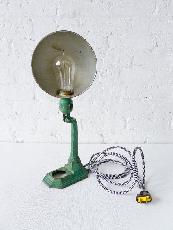 A vintage industrial lamp. #lamp #light #industrial #vintage #aqua #office
