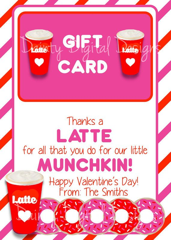 Thanks A Latte 5x7 Printable Teacher Thank You Gift Dunkin Donuts