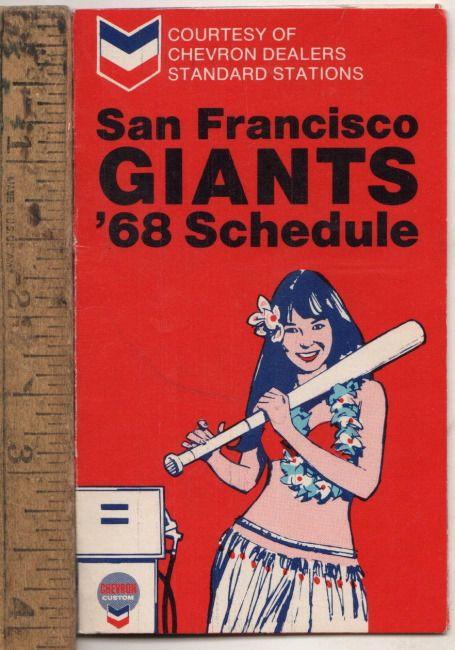 1968 San Francisco Giants Baseball Pocket Schedule Compliments Standard Oil CO, #sfgiants