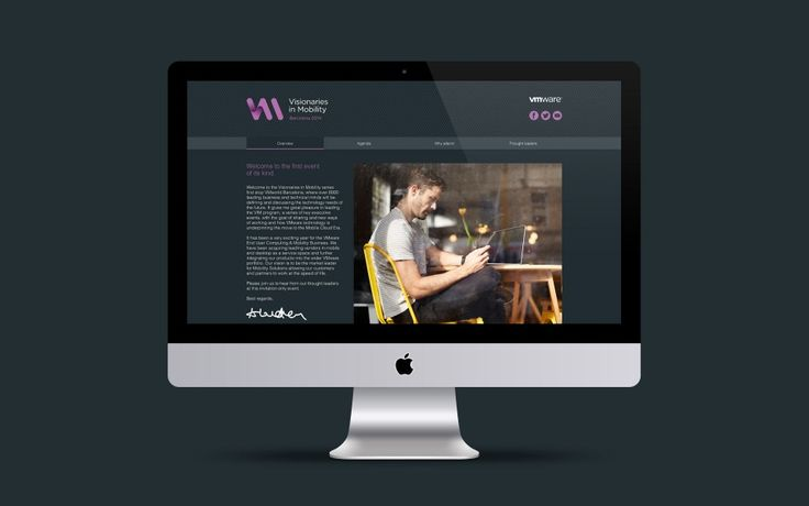 Web design as part of a new brand for technology event Visionaries in Mobility | Workbrands