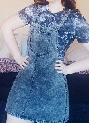 Grey Denim Dungaree Pinafore Dress