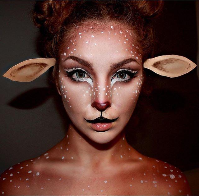 Deer Makeup! Using @tartecosmetics Light of the Party. @makeupforeverofficial Contour.  And @ohmykittydotcom Contacts❤️