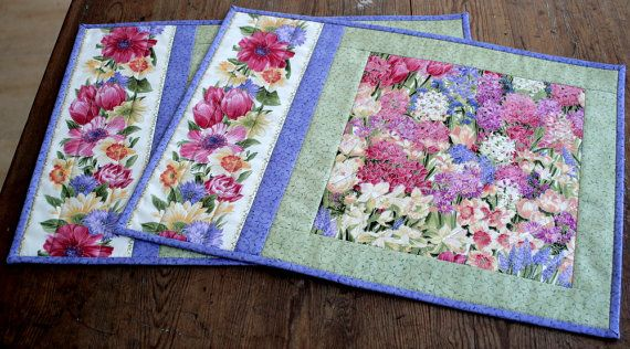 Quilted Placemats Easter Spring Placemats By