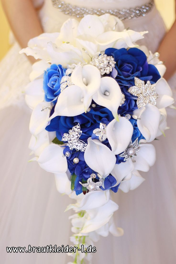 Ramo de Novia Ramo de Flores Emilia Azul Blanco con perlas: Rhinestone Selección ✓ g …