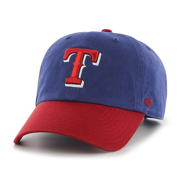 """Texas Rangers 47 Brand Blue Red Clean Up """"T"""" Logo Adjustable Slouch Hat Cap"""