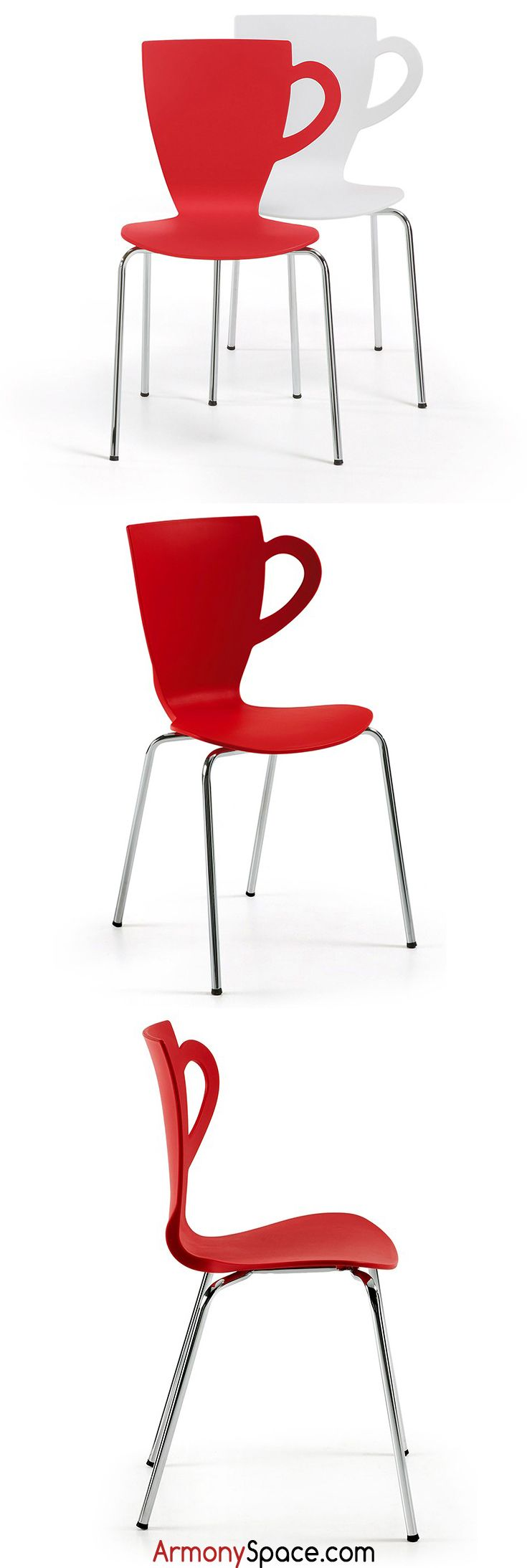 Original Silla apilable en forma de taza Yulma · Original cup-shaped Stackable chair Yulma. Disponible en color rojo y blanco. 86x50,5x53 www.armonyspace.com