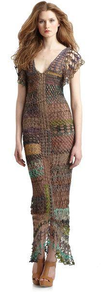 Free People Brown Fools Gold Crochet Maxi Dress #crochetinspiration #crochetdress