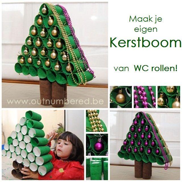 Knutselen voor kerst met kinderen: maak een kerstboom van WC rollen!