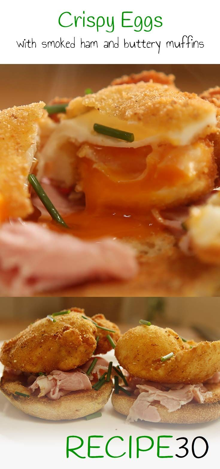 CRISPY DEEP FRIED EGGS Poached eggs taken to a new level with smoked ham and buttery muffin