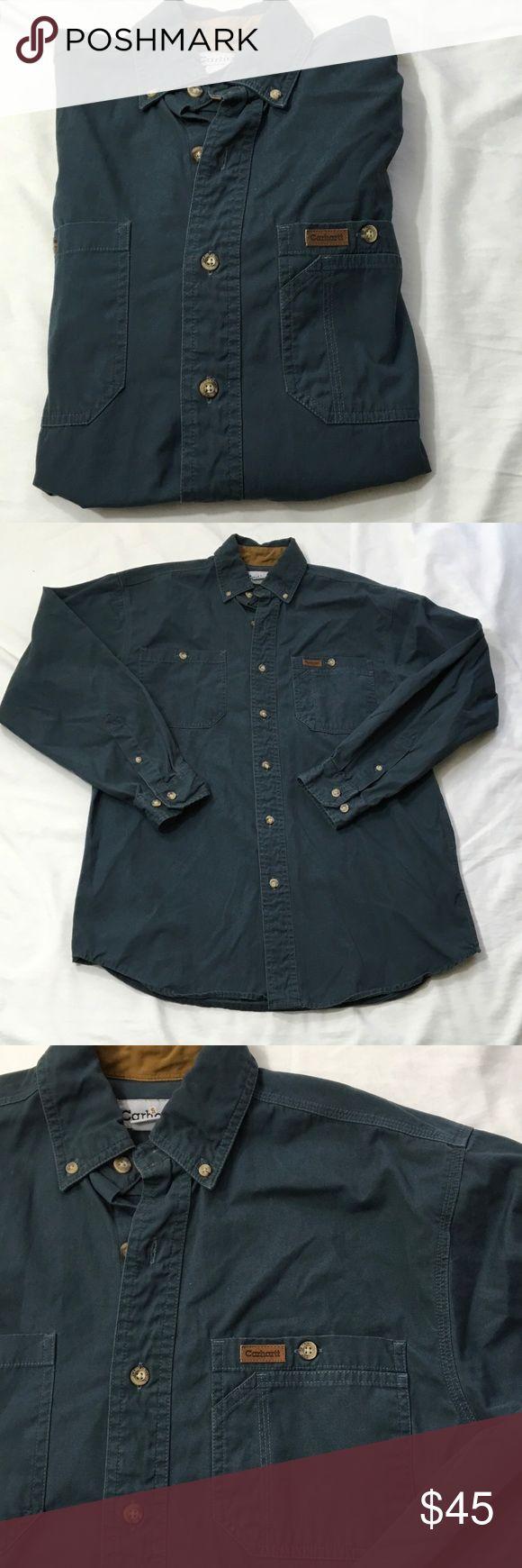 Carrhartt Blue Button Front Work Shirt S Pre-loved Carhartt Shirts Casual Button Down Shirts