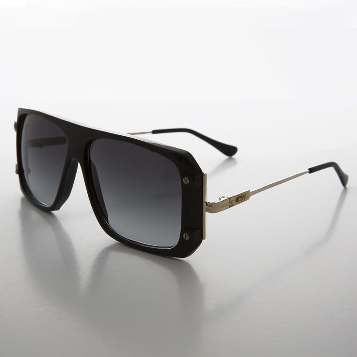 Flat Top Hip Hop 80s Vintage Sunglass with Gold Temples - Cool