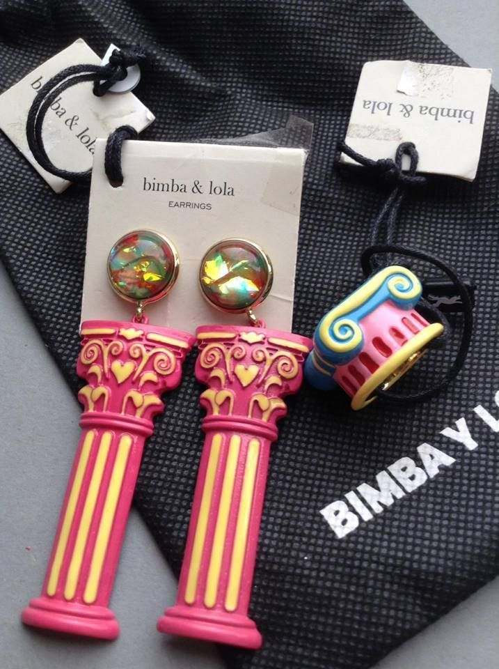 Bimba Y Lola NWT Dust Bag, Column Earrings & Ring, Ancient Greek / Roman, Spain #BimbaYLola #PiercedEarringsMatchingRing