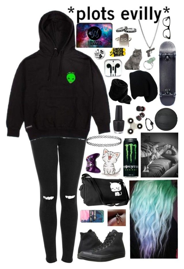 """""""I'm just a sucker for anything that you do."""" by xxghostlygracexx ❤ liked on Polyvore featuring Topshop, RIPNDIP, Converse, Casetify, Microsoft, OPI, Hot Topic and E.vil"""