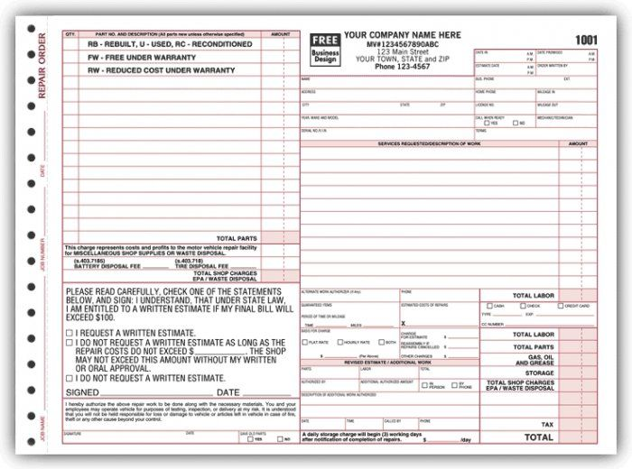 22 best Automotive Service Forms \ more! images on Pinterest - personalized invoices