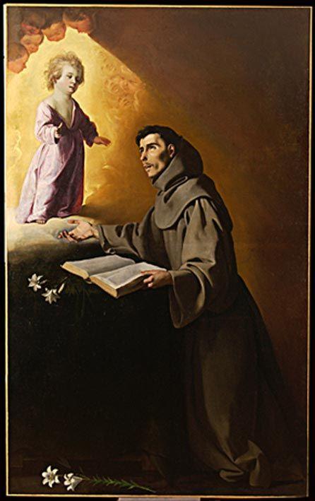 Francisco de Zurbarán, Apparition de l'Enfant Jésus à saint Antoine de Padoue, ?. Étreham (Normandie), église Saint-Romain.