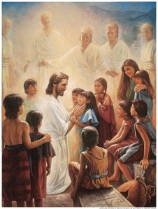 Book of mormon...3rd Nephi Chapter 11...In America after his resurrection, Christ calls down ANGELS to encircle and bless the children...I weep every time I read it...He loves us all soooo much...