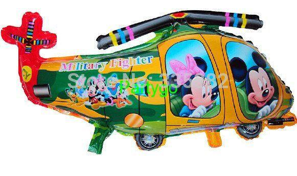 Оптовая 81x44 см 10 ШТ./ЛОТ микки минни маус Вертолет воздушный шар гелием воздушный шар для детей подарки на день рождения Самолет, воздушный шар