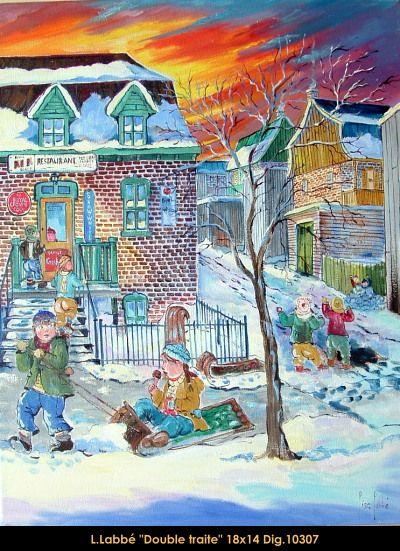 Original oil on canvas painting by Lise Labbé #labbe #art #artnaif #fineart #figurativeart #kidscharacters #winter #sleds #canadianartist #quebecartist #originalpainting #oilpainting #balcondart #multiartltee