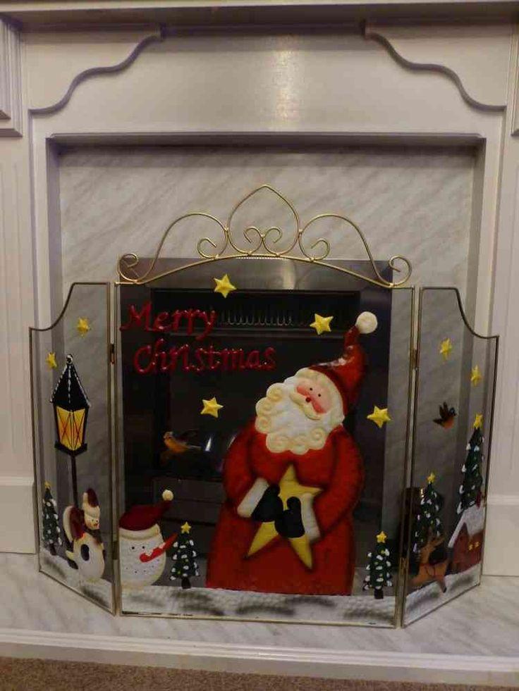 Christmas fireguard large 72cm santa fire guard fireplace for Indoor fire decoration