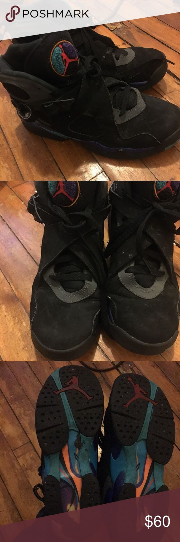 Jordan aqua 8's Has a Rip on the heal tab on one of the sneakers but still wearable 6.5-10 condition women's sz 6 pre-owned Jordan Shoes Sneakers