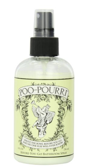 Poo-Pourri; Guarantee! This stuff is AWESOME!!! I carry a small bottle to use in public restrooms because some women leave their scent behind that make your eyes water or make you gag!!!