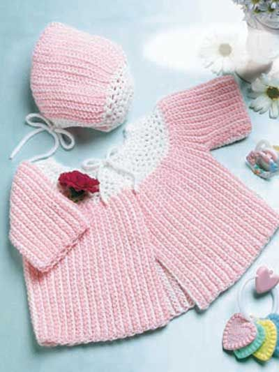 Crochet - Gift Sets - Baby Sacque and Cap 0- 3 6 -9 months