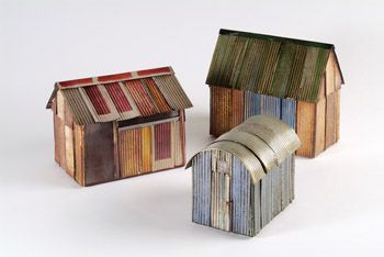 Just love that I can keep adding to my tiny houses collection and don't have to worry about paying for them or dusting them! Shelter/Hut/Barn Enamel on corrugated copper