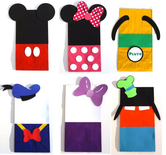 12 Mickey Mouse Clubhouse Themed Favor Loot Goody Bags Birthday Party Decoration - Mickey Hot Pink Minnie Donald Daisy Goofy Pluto