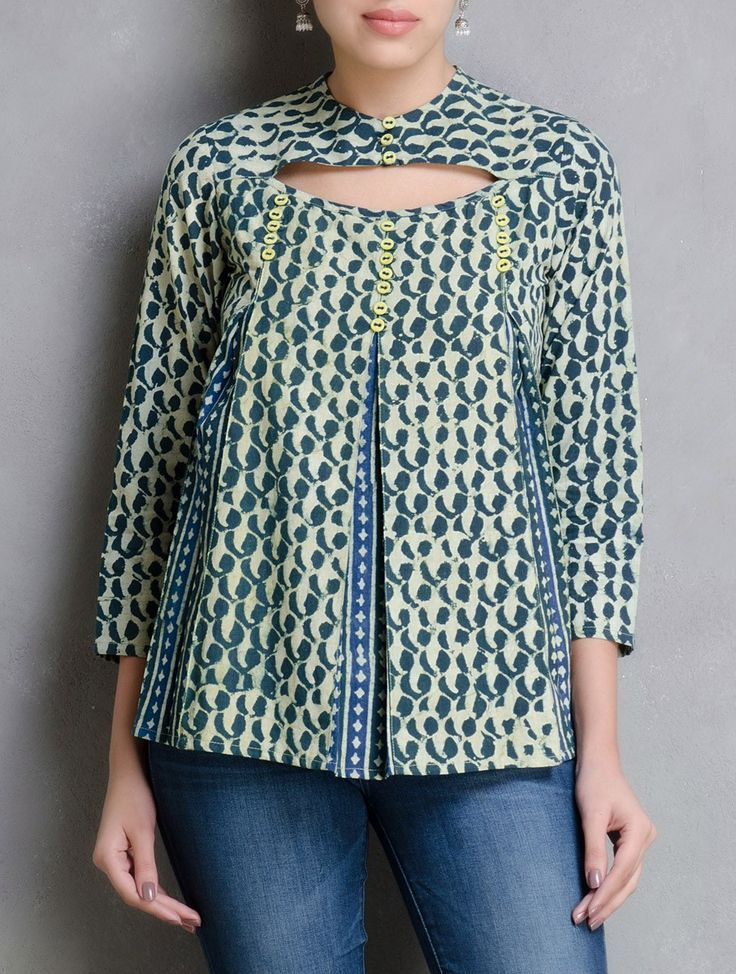 Buy Green Indigo Lemon Dabu Printed Pleated Top by Indian August Cotton Apparel Tops & Dresses The Crust Collection Hand Block Natural Dyed Tunics Palazzos More Online at Jaypore.com