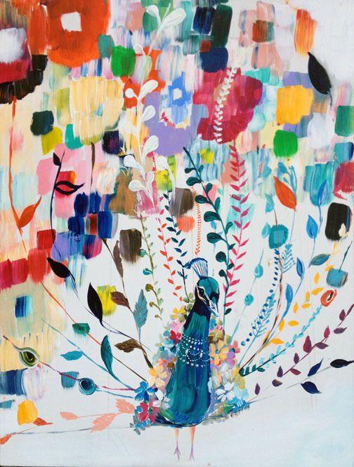 "Starla Michelle: ""Tale of Love"", Acrylic on Wood Peacock Art"