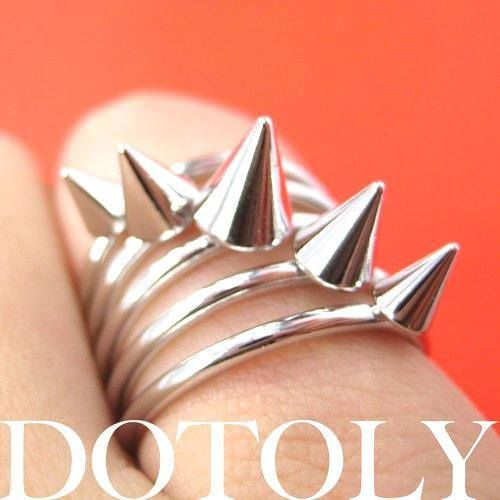 Spiked Studded Rocker Chic Ring in Silver Size 6.5 | DOTOLY