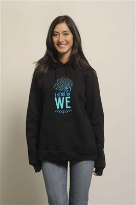 Think We Light Bulb Tee graphic printed on our eco-fleece Hudson Hoodie in Black. Warm and cozy, this hoodie will show the world you're ready to make a difference! Shop at www.metowestyle.com