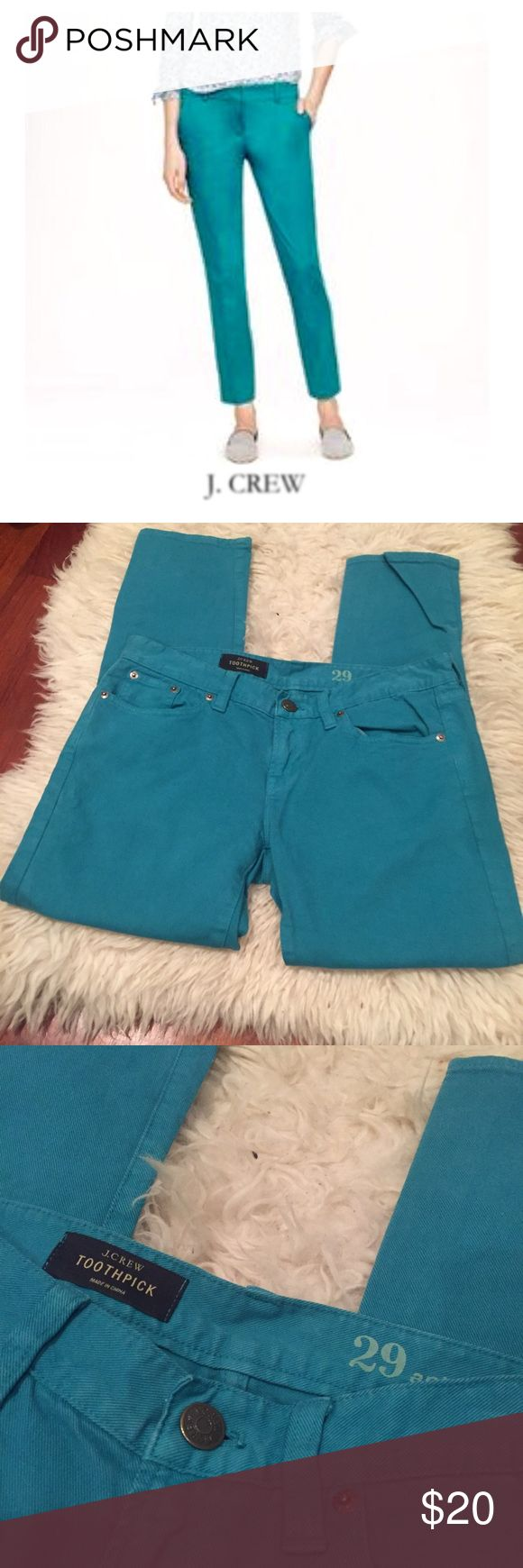 """J. Crew Skinny Garment Dyed Ankle Jeans J. Crew Skinny Garment Dyed Ankle Jeans. 8"""" rise. 28"""" rise. Size 29 which is an 8. Color is like an aquamarine, I think they call it green online, but want to share it is more aquamarine color. Gently worn. Great condition. Feel free to make an offer or bundle & save! J. Crew Jeans Skinny"""