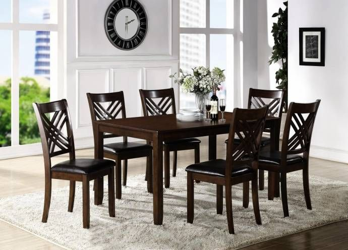 Crown Mark 2430 Eloise Traditional Dark Brown Finish Dining Table