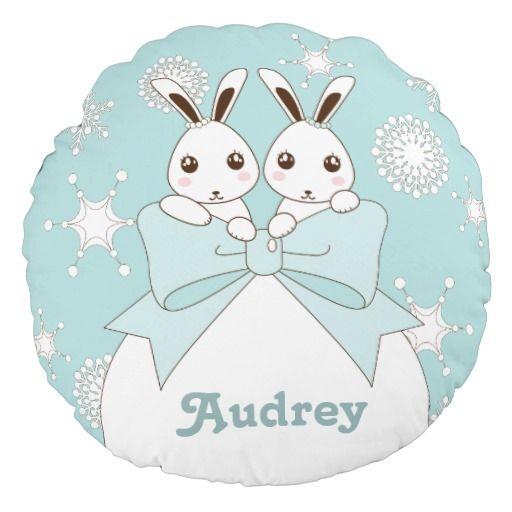 Cute Twin Bunnies and Snowflakes Kids Christmas Round Pillow
