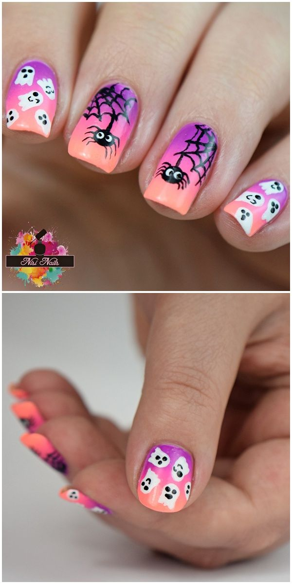 Halloween Nageldesign 2016 - Nail Art Inspiration for Halloween w. cute spiders and ghosts
