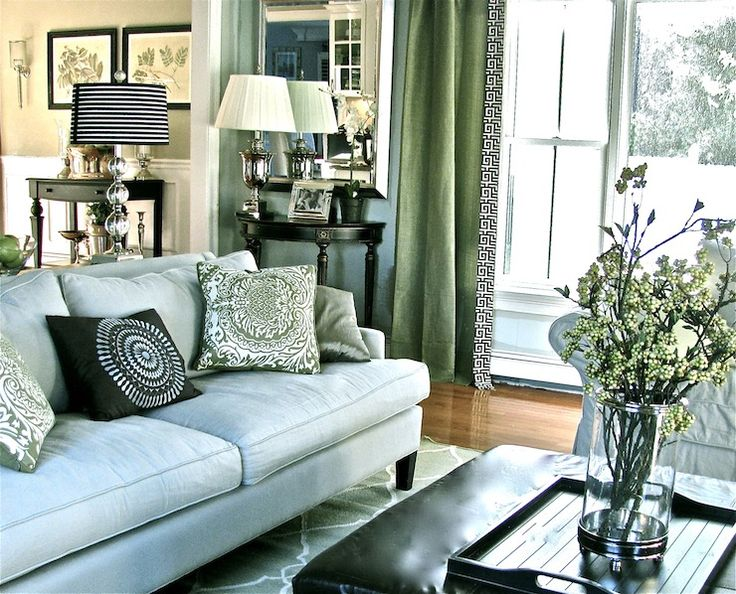 Living Rooms Benjamin Moore Quiet Moments Modern Blue Green Black White Stripe Greek Key