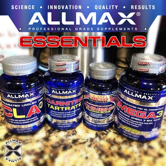 What fat burner is your #ALLMAX Essential? #CLA is a dietary supplement derived from sources like safflower and sunflower oil and found naturally in grass-fed meats/dairy. #LCarnitine L-Tartrate is essential for transporting long-chain fats into the cell.  #Yohimbine + Rauwolscine used for rapid fat loss due to its targeted ability to act on stored fat.  #OMEGA3 EFAs provide a wide range of health and performance benefits. EFAs can improve the elasticity of arterial walls.