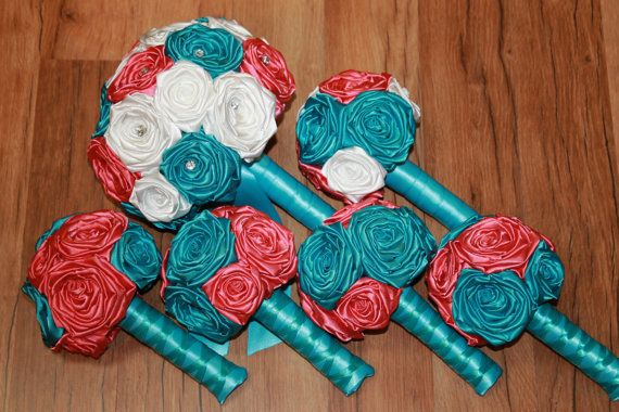 Turquoise and Coral Wedding Bouquet Set Turquoise by HeyBouquet