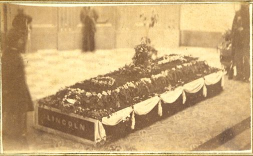 President Abraham Lincoln's coffin in the Ohio Statehouse, April 29, 1865. Ohio History Connection.