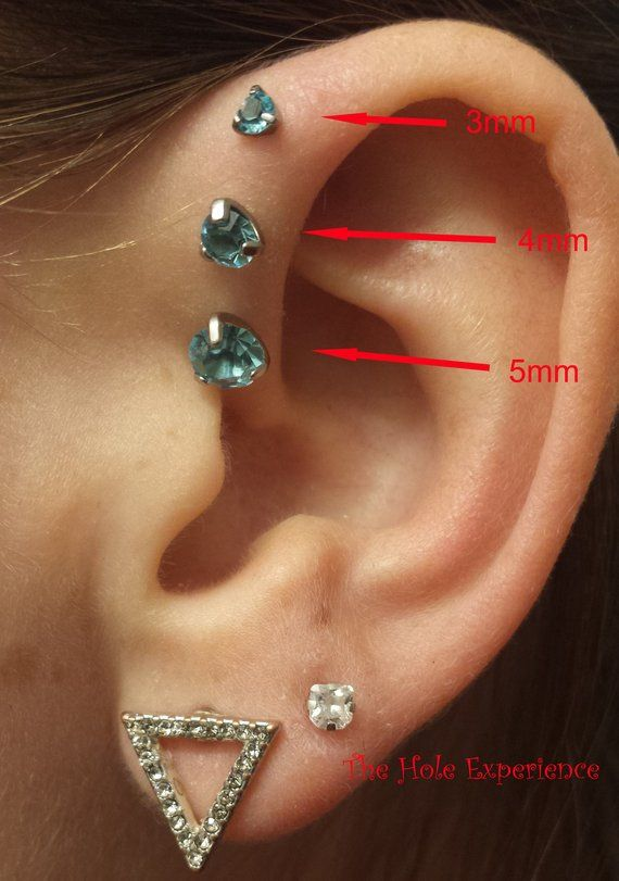 0adc4545b Aquamarine, Forward Helix Earring, Tragus, Cartilage, Earring, 3 Prong Set  Aqua, 16g 6mm, Triple for