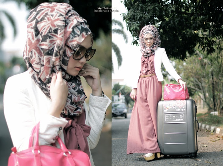 Hijab outfit with pink jumpsuit