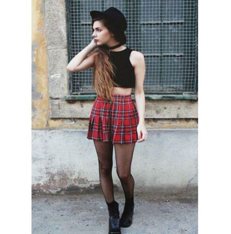 Charlee Cooper Pleated A Line Tartan Mini Skirt