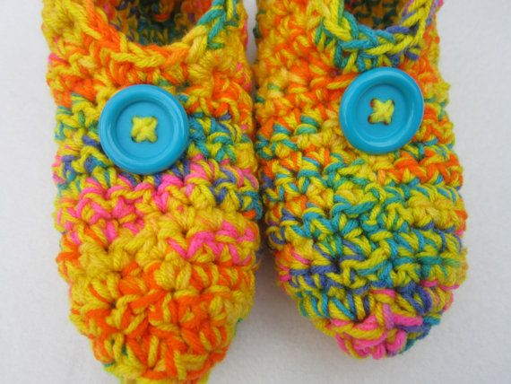 Crochet Slippers in Yellow and Bright Multicolor Size Small, Crocheted House Shoes, Yellow Slippers #etsy  #etsyretwt