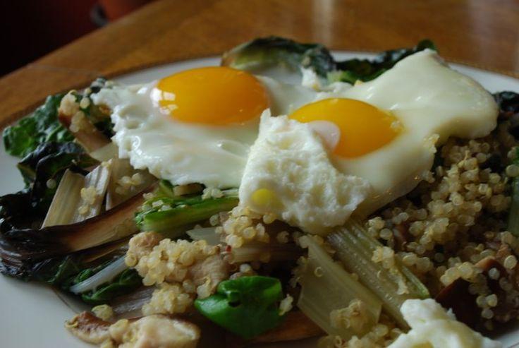 Swiss Chard, Shiitake Mushroom and Quinoa Hash with two eggies.